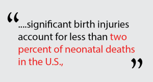 significant birth injuries account for less than two percent of neonatal deaths in the U.S.